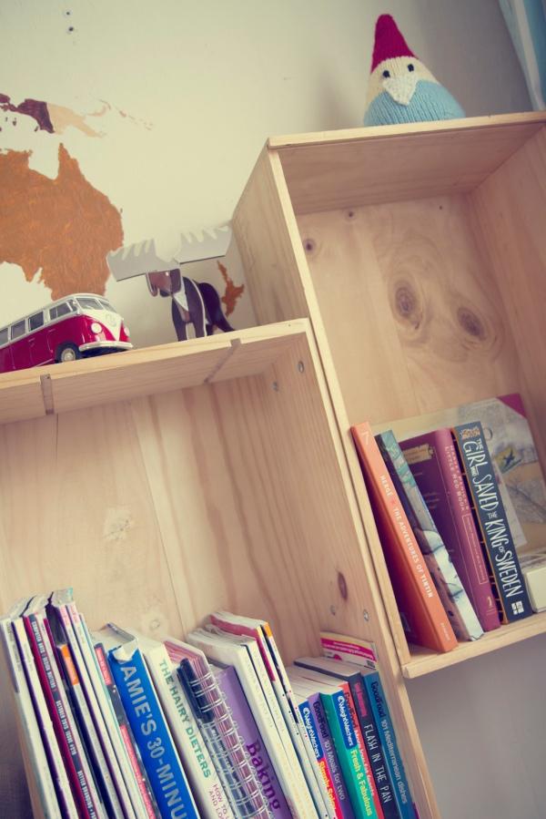 homemade wooden crate shelves