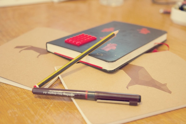 sketch pads and pencils