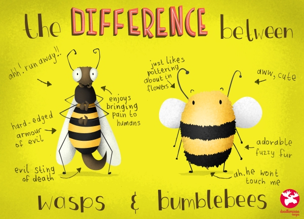 funny illustration about wasps and bees